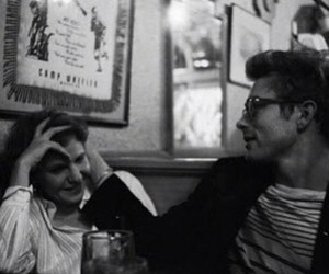 black and white, couple, and james dean image