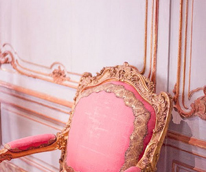 pink, chair, and gold image