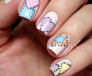 nail art, pastel, and patchwork image