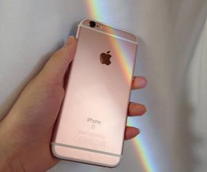 iphone, rainbow, and apple image