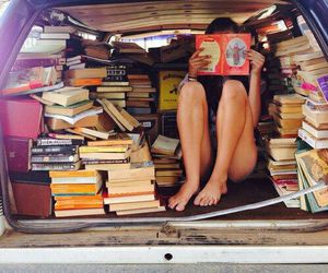 books, car, and Road Trip image
