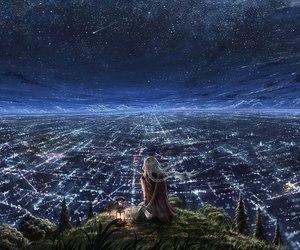 night, anime, and city image