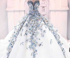 blue, wedding dress, and wedding gown image