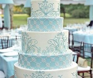 cake, wedding, and blue image