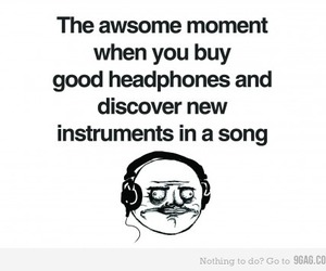 headphones, 9gag, and funny image
