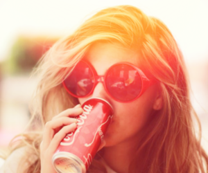 girl, coca cola, and hair image
