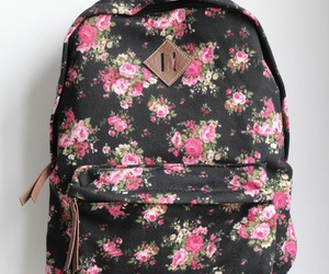 bag, flowers, and backpack image