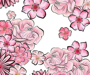 background, roses, and cherry blossom image