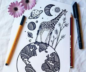 drawing, art, and giraffe image
