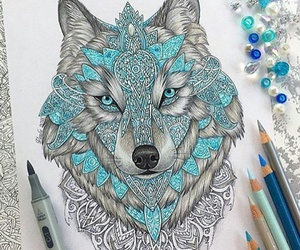 black, wolf, and blue image