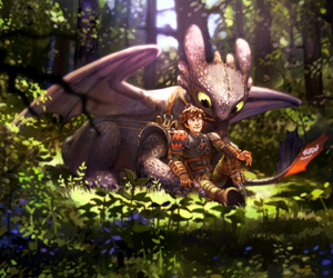 hiccup, forest, and toothless image