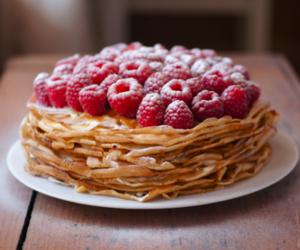 food, pancakes, and raspberry image
