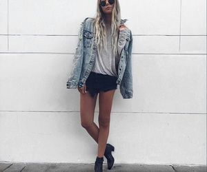 blonde, outfit, and denim image