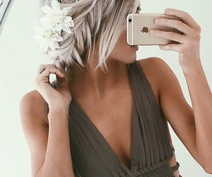 hair, blonde, and bridesmaid image