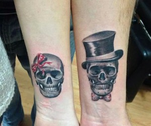 tattoo, skull, and couple image