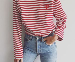 fashion, jeans, and stripes image