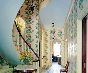 floral, stairs, and vintage image