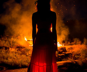 fire, red, and dress image