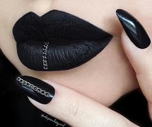 black, nails, and lips image
