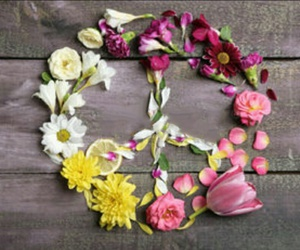beautiful, flowers, and peace sign image