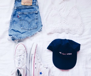 cap, clothes, and converse image