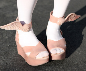 shoes, pink, and wings image