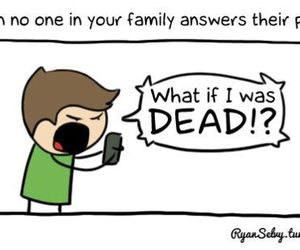 funny, dead, and phone image