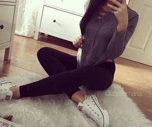brunette, clothes, and converse image