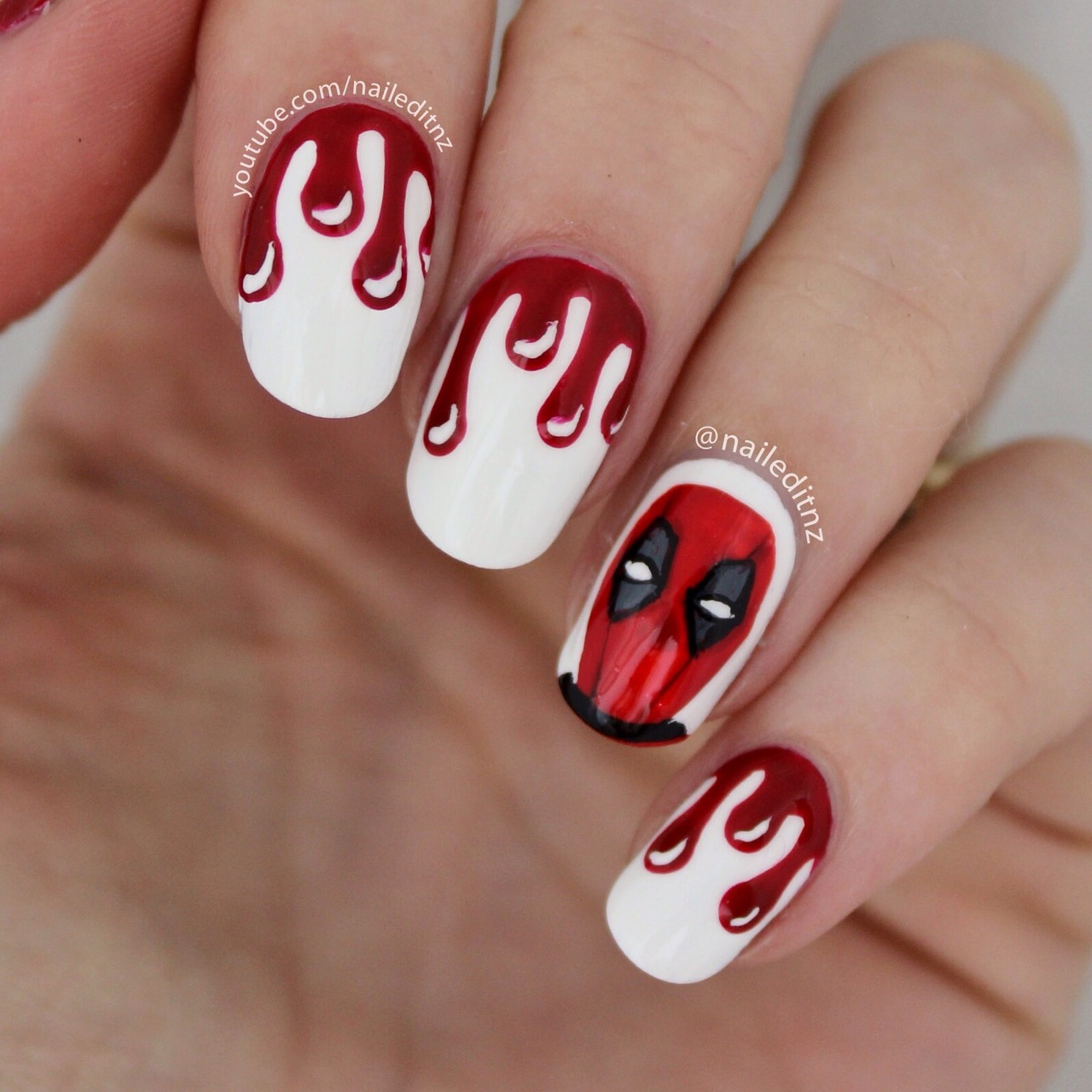 Deadpool nail art the full tutorial is on the nailed it nz deadpool nail art the full tutorial is on the nailed it nz youtube channel prinsesfo Gallery