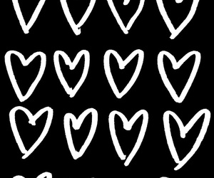 black and white, hearts, and heart image