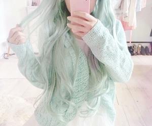 kawaii, hair, and green image
