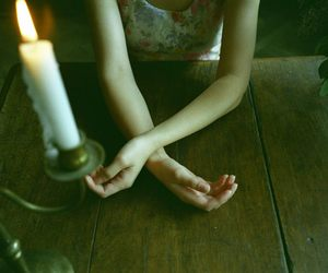 girl, candle, and hands image