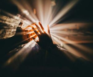 light, hands, and sun image