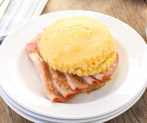 biscuit, mustard, and ham image