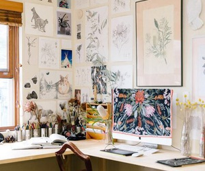 art, desk, and painting image