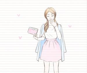 art, beauty girl, and drawing image