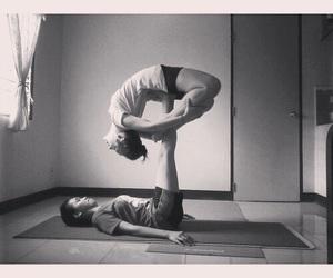 blackandwhite, yoga, and acroyoga image