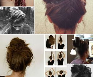 hair, bun, and brunette image