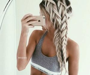 hair, braid, and Calvin Klein image