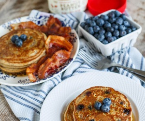 bacon, blueberry, and pancakes image