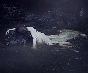 water, dark, and black and white image