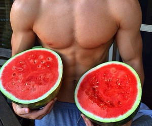 watermelon, boy, and abs image