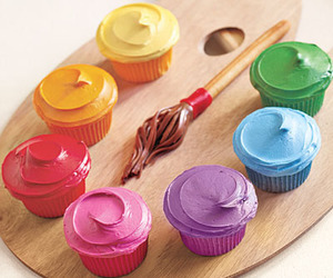cupcake, paint, and food image