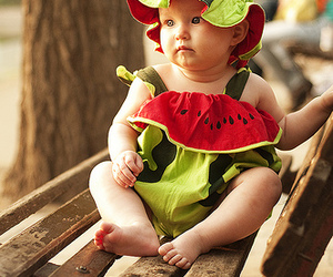 cute, baby, and watermelon image