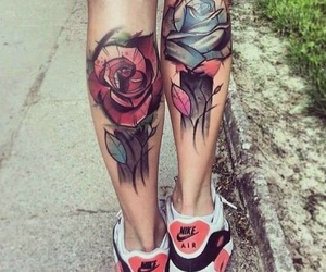tattoo, rose, and nike image