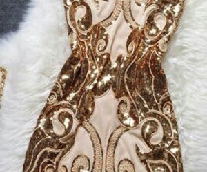 dress, gold, and style image