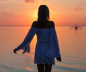 beautiful, dress, and sea image