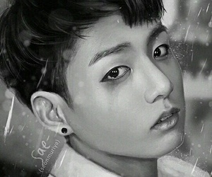 black&white, fanart, and kpop image