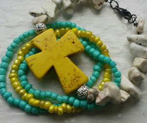 beads, cross, and bracelet image