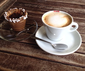 cappuccino, cups, and food image